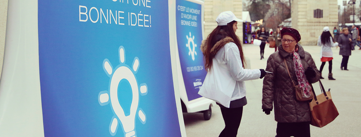 Bike'Com, le vélo publicitaire affichage mobile pour le street marketing - NON STOP MEDIA Rhône Alpes