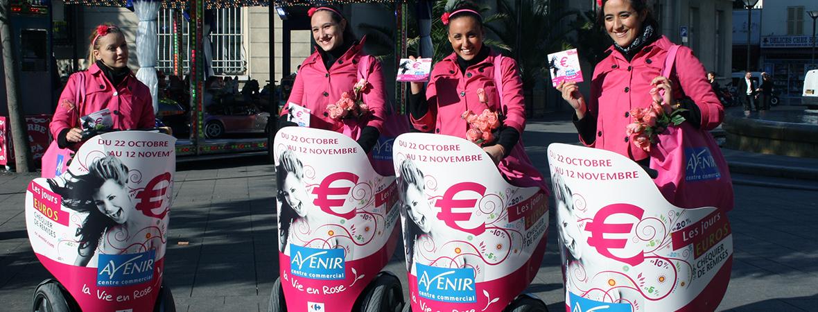 Le Segway publicité pour le centre commercial Avenir- affichage mobile et street marketing - NON STOP MEDIA Rhône Alpes