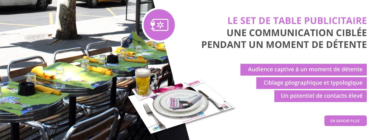 Set de table publicitaire pour restaurant, serviette publicité, sous-bock pour les Médias tactiques - NON STOP MEDIA Rhône Alpes
