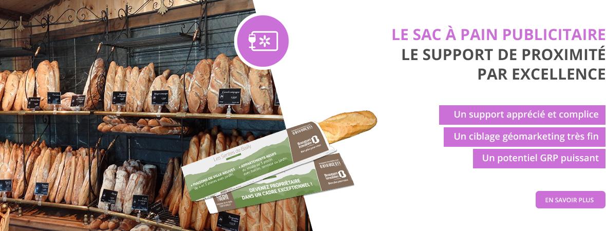 Impression sac à pain publicitaire pour les Médias tactiques - NON STOP MEDIA Rhône Alpes