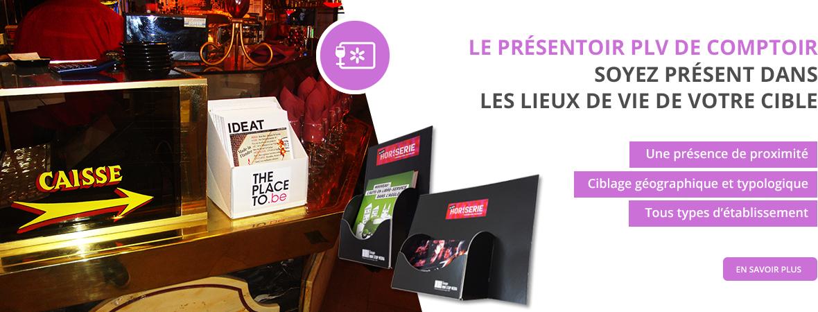 Présentoir comptoir carton pour flyer et magazines pour être présent dans les lieux de vie de votre cible - NON STOP MEDIA Rhône Alpes