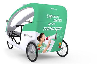 Le vélo-taxi publicitaire Gumba - Affichage publicitaire mobile